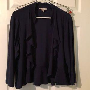 Navy ruffled jacket 2X